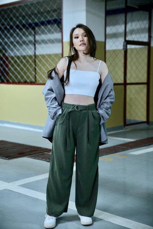 Wide Pants Navy Green