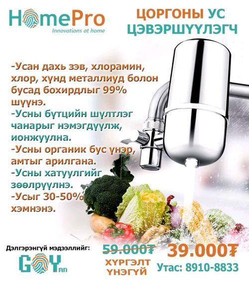 Цоргоны ус цэвэршүүлэгч HomePro